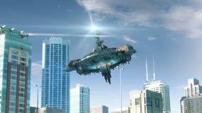 Animazione con il volo falso del UFO in Chicago illustrazione vettoriale