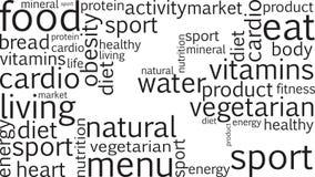 Animazione con le parole relative a nutrizione illustrazione di stock