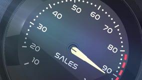 Animazione concettuale di vendite, di lavoro di squadra, di sforzo, di prestazione, di successo, di sppedometer o dell'indicatore video d archivio