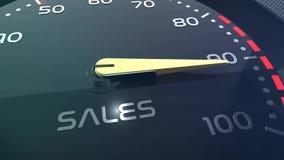Animazione concettuale di vendite, di lavoro di squadra, di sforzo, di prestazione, di successo, di sppedometer o dell'indicatore archivi video