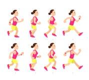 Animazione corrente della ragazza del fumetto Il funzionamento atletico del carattere della giovane donna o velocemente cammina V illustrazione vettoriale