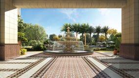 animazione 3d dei fiori che volano intorno alla fontana video d archivio