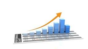 animazione 3d del grafico in aumento di affari illustrazione di stock