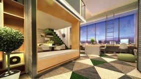 Piccolo Ufficio Moderno : Interno del sottotetto del salone neutro rappresentazione 3d stock