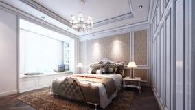 animazione 3d della camera da letto di stile classico stock footage