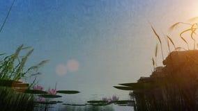 animazione 3d della riva del lago da underwater a al disopra della superficie stock footage