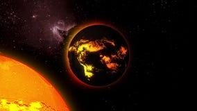 animazione 3d di una stella con i flussi di lava su una superficie nello spazio illustrazione di stock