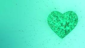 animazione 3d: Fondo animato avvolto estratto: Pezzi e cubi formati cuore verde smeraldo luminoso giranti di filatura verde royalty illustrazione gratis