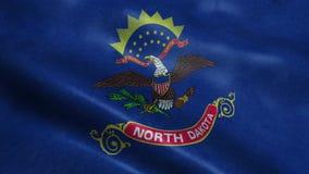 Animazione d'ondeggiamento di ciclaggio senza cuciture della bandiera di stato del north dakota royalty illustrazione gratis