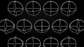 Animazione dei cerchi bianchi d'intersezione Animazione astratta di rotazione delle forme geometriche complesse su un fondo nero illustrazione di stock