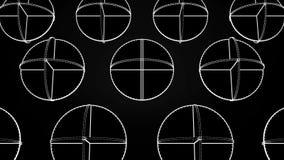 Animazione dei cerchi bianchi d'intersezione Animazione astratta di rotazione delle forme geometriche complesse su un fondo nero royalty illustrazione gratis