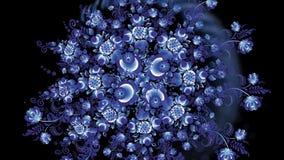 Animazione dei fiori variopinti su fondo nero Cicli senza cuciture Animazione dell'ornamento video d archivio