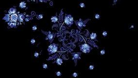 Animazione dei fiori variopinti su fondo nero Cicli senza cuciture Animazione dell'ornamento archivi video