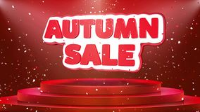 Animazione del ciclo dei coriandoli del podio di Autumn Sale Text Animation Stage royalty illustrazione gratis