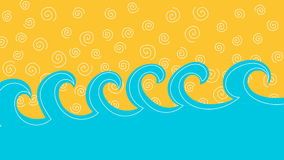 Animazione del ciclo delle onde e della sabbia o del cielo del mare archivi video