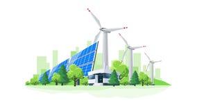Animazione del fumetto del ciclo della centrale elettrica dei generatori eolici e dei pannelli solari stock footage