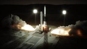 Animazione del lancio di Rocket Luce del giorno Sistema del lancio dello spazio rappresentazione 3d Immagini Stock