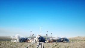Animazione del lancio di Rocket Luce del giorno Sistema del lancio dello spazio Animazione realistica 4K stock footage