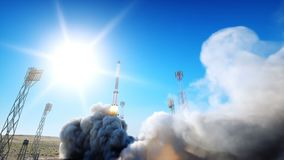 Animazione del lancio di Rocket Luce del giorno Sistema del lancio dello spazio Animazione realistica 4K illustrazione vettoriale