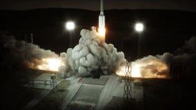 Animazione del lancio di Rocket Sistema del lancio dello spazio notte Animazione realistica 4K royalty illustrazione gratis