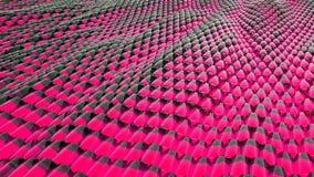 Animazione del liquido metallico di rosa astratto dell'onda con le riflessioni rappresentazione 3d Fotografia Stock Libera da Diritti