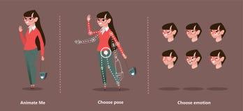 Animazione del personaggio dei cartoni animati fissata per la vostra progettazione di moto illustrazione vettoriale