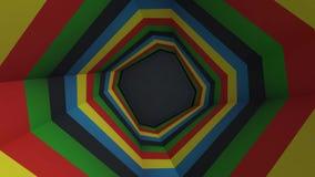 Animazione del tunnel variopinto dell'ottagono Ottagono dell'arcobaleno Un tipo animato semplice video del tunnel Variopinto ed e illustrazione vettoriale