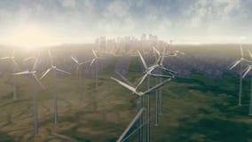 Animazione dell'azienda agricola del mulino a vento Gruppo di mulini a vento per l'animazione elettrica rinnovabile di produzione illustrazione di stock