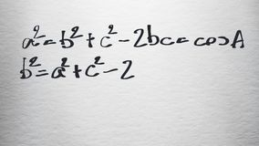 Animazione della carta bianca di esempi di formula matematica scritta stock footage