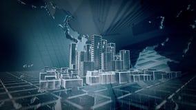 Animazione della città stock footage