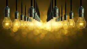 Animazione della lampadina aumento di incandescenza dell'oscillazione Fotografia Stock Libera da Diritti