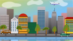 Animazione della macchina fotografica di un tipo piano città grafica con le costruzioni moderne archivi video