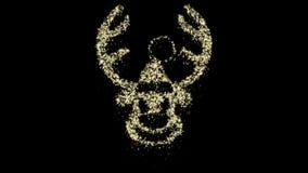 Animazione della renna di Natale della particella, Alpha Channel, ciclo senza cuciture archivi video
