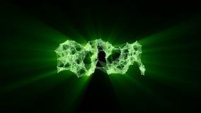 """Animazione della rete d'ardore verde del plesso che trasforma al testo al neon """"iota """" royalty illustrazione gratis"""