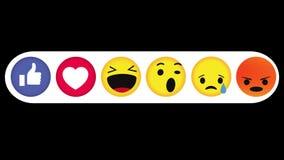 Animazione della rete sociale di Emoji di emozione di Facebook, con Alpha Channel, ciclo, 4k archivi video