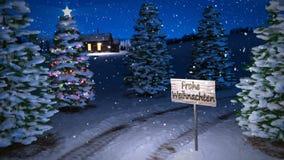 Animazione della scena tedesca magica di inverno con l'albero di Natale e del cottage 3d rendono Ciclo senza cuciture stock footage