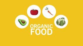Animazione delle icone HD dell'alimento biologico stock footage