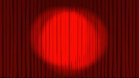 Animazione delle tende del teatro che si aprono con il riflettore illustrazione vettoriale