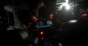 Animazione dentro un'astronave di fantascienza in pieno delle luci archivi video