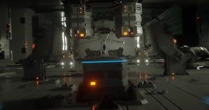 Animazione dentro un'astronave di fantascienza in pieno di movimento archivi video