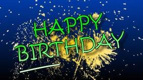 Animazione di buon compleanno con i fuochi d'artificio royalty illustrazione gratis