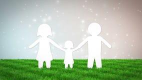 Animazione di carta della famiglia sul campo di erba 3d rendono archivi video