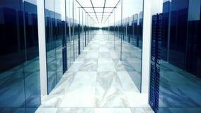 Animazione di ciclaggio dei server di dati nel centro dati stock footage