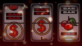 Animazione di conquista dello slot machine circondata da effetto del bokeh illustrazione di stock
