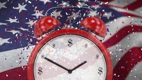 Animazione di Digital della sveglia contro la bandiera americana d'ondeggiamento archivi video