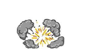 Animazione di disegno d'esplosione della bomba della palla 2D video d archivio