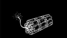 Animazione di disegno d'esplosione della dinamite di TNT 2D video d archivio