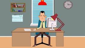 Animazione di divertimento di un tipo pigro che fantastica nell'ufficio stock footage