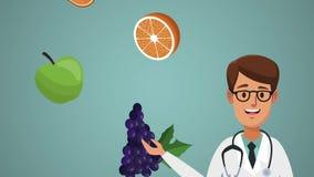 Animazione di frutti e di medico HD stock footage