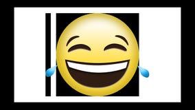 Animazione di risata dell'emoticon giallo su fondo verde royalty illustrazione gratis